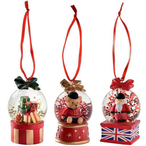 Giftbox Santa Bear Mini Snow Globe Tree Decorations, 4 cm - Set of 3