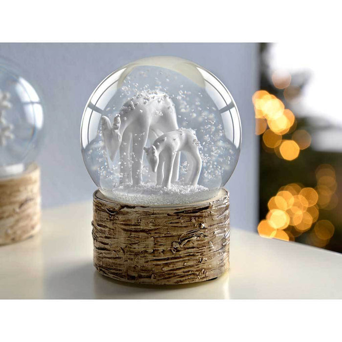 Snowflake Deer and Penguin Snow Globe Christmas Ornaments 7 cm - White, Set of 3
