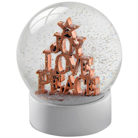 Joy Love Peace Snow Globe Christmas Decoration, 12 cm - Rose Gold/Multi-Colour
