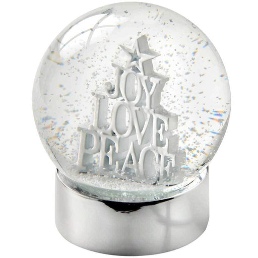 Joy Love Peace Snow Globe Christmas Decoration, 12 cm - White