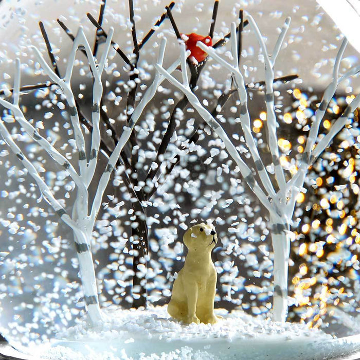 Puppy in Birch Trees and Cardinal Bird Snow Globe Christmas Decoration, Multi-Colour, 12 cm | WeRChristmas