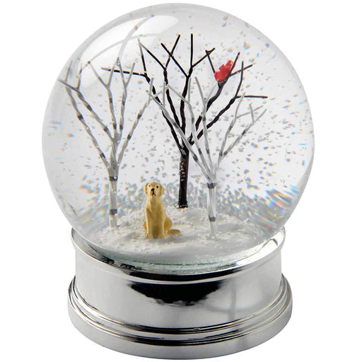 Puppy in Birch Trees and Cardinal Bird Snow Globe Christmas Decoration, Multi-Colour, 12 cm