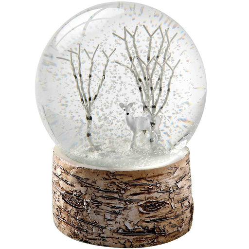 Deer and Birch Trees with Birch Base Snow Globe Christmas Decoration, Multi-Colour, 13 cm