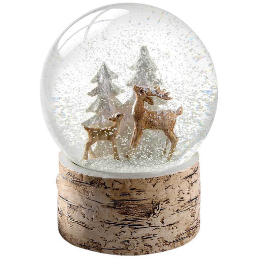 Deer and Fawn with Birch Base Snow Globe Christmas Decoration, Multi-Colour, 15 cm