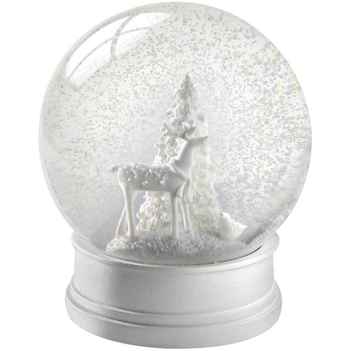 Reindeer Snow Globe Christmas Decoration, 13 cm - White