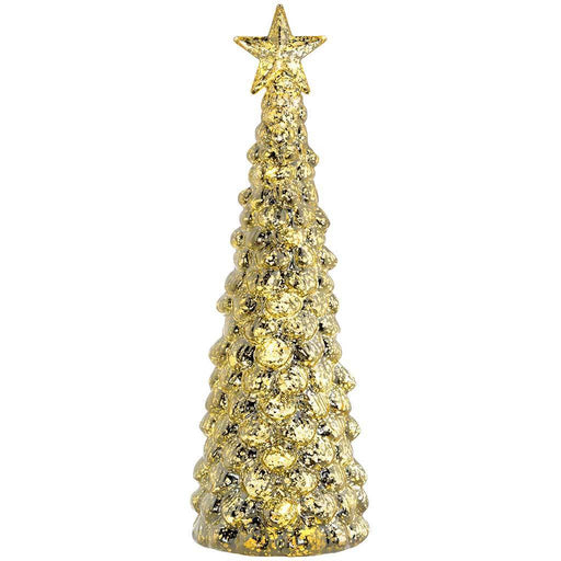 Pre-Lit Champagne Gold Christmas Tree Decoration, 36 cm - Gold