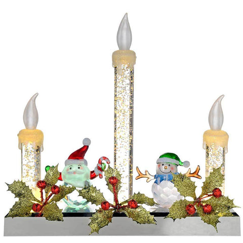 Pre-Lit LED Glitter Candle Light Display Christmas Decoration, 23 cm - Multi-Colour