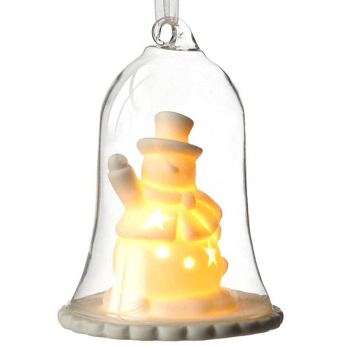 Pre-Lit Snowman Lantern Christmas Decoration, Glass, 11 cm - White