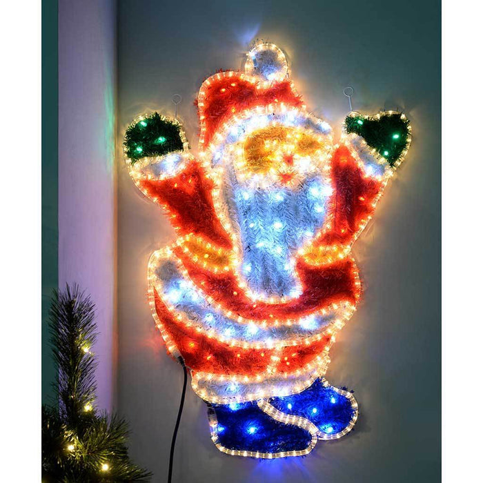 Santa LED Rope Lights and Tinsel Silhouette Outdoor Garden Wall, 92 cm - Large