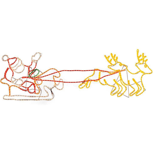 Pre-Lit Santa Sleigh Reindeer LED Rope Light Christmas Silhouette, 156 m - Large