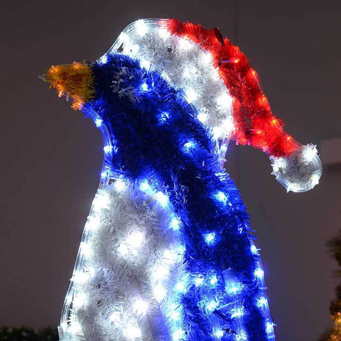 1 m Large Penguin LED Rope Lights and Tinsel Silhouette Outdoor Garden Wall