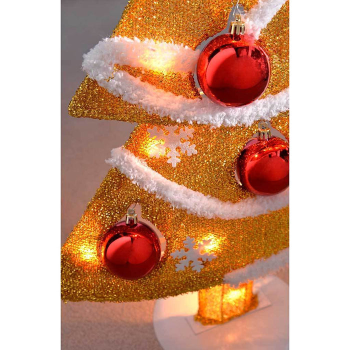Pre-Lit Tinsel Christmas Tree Decoration with 20 Fairy Lights and 7 Red Baubles, 78 cm