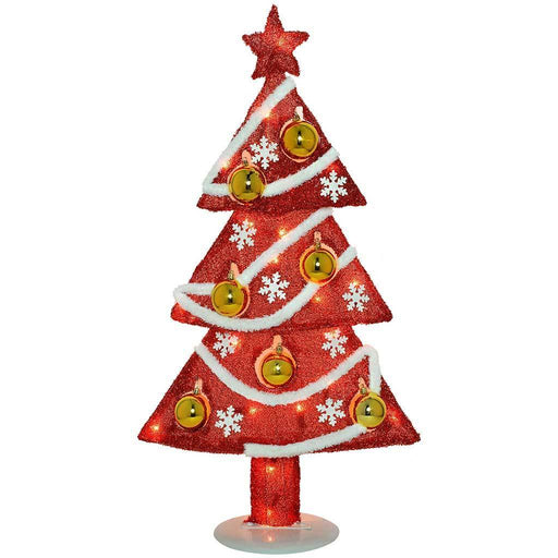 Pre-Lit Tinsel Christmas Tree Decoration with 20 Fairy Lights and 7 Gold Baubles, 78 cm