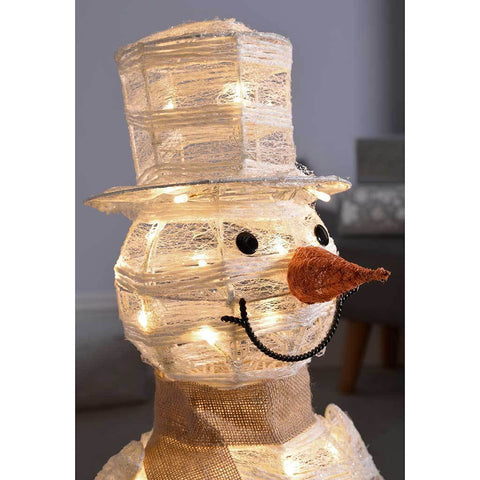 Pre-Lit Paper String and Gauze Snowman with 42 Warm White LED Lights, 71 cm - White