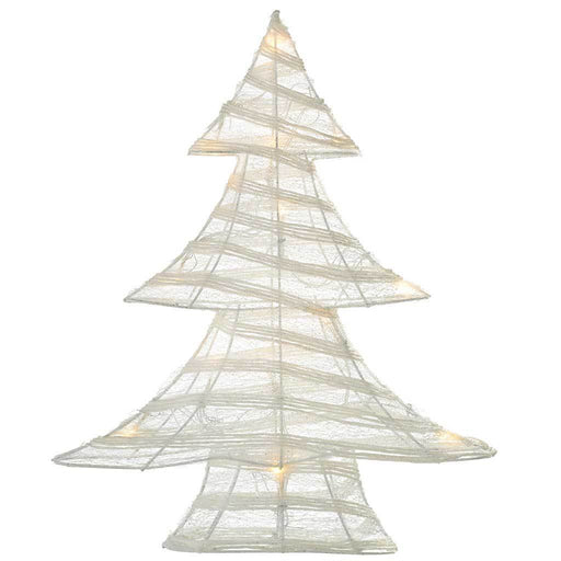 Pre-Lit Paper String and Gauze Christmas Tree with 15 Warm White LED Lights, 48 cm - White