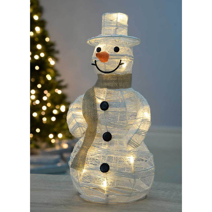 Pre-Lit Paper String and Gauze Snowman with 10 Warm White LED Lights, 40 cm - White