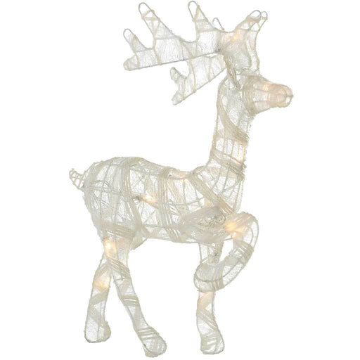 40 cm Pre-Lit Paper String and Gauze Reindeer with 10 Warm White LED Lights, White