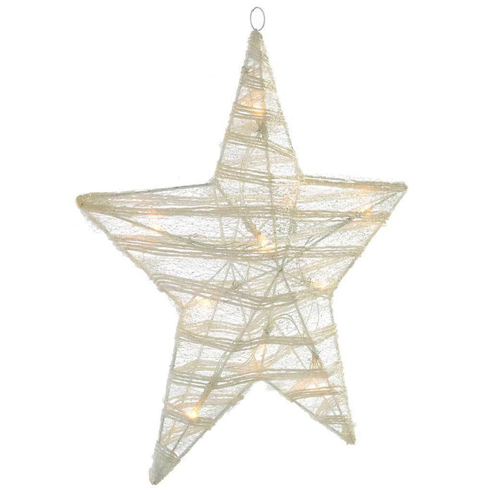 46 cm Pre-Lit Paper String and Gauze Star with 10 Warm White LED Lights, White