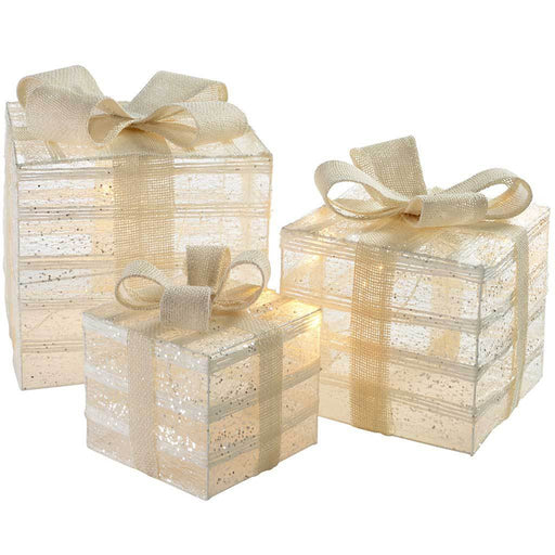 Pre-Lit Paper String and Gauze Gift Box Set with 42 Warm White LED Lights, 15/20/26 cm