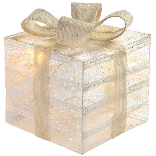 Pre-Lit Paper String and Gauze Gift Box with 10 Warm White LED Lights, 20 cm - White