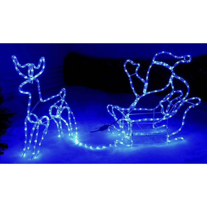 Home Reindeer with Santa on Sleigh LED Rope Lights Silhouette 1c1fc7e0e