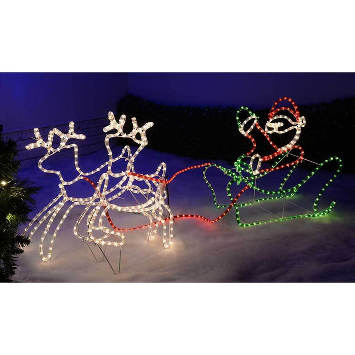 Home Double Reindeer with Santa on Sleigh LED Rope Lights Silhouette 51b0d7d36