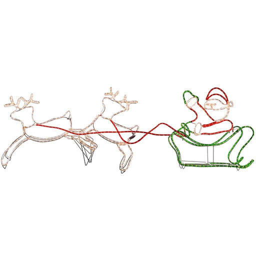 Double Reindeer with Santa on Sleigh LED Rope Lights Silhouette, 240 cm - Large