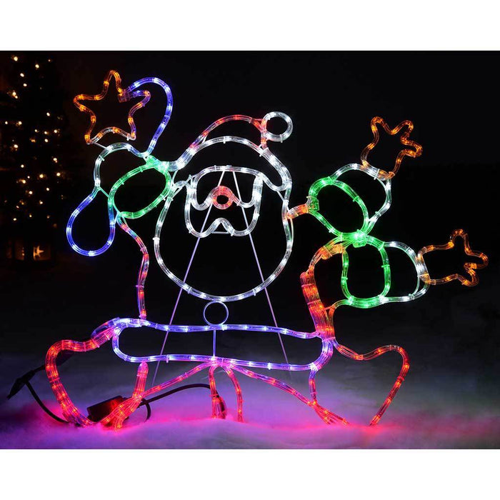 Animated Dancing Santa LED Rope Lights Silhouette with Speed Controller, 90 cm - Large