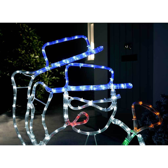Animated Snowman Waving LED Rope Lights Silhouette with Speed Controller, 85 cm - Large