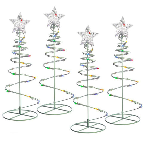 Spiral Trees Christmas Lighting 8 Function Controller, 55 cm - Multi-Colour, Set of 4