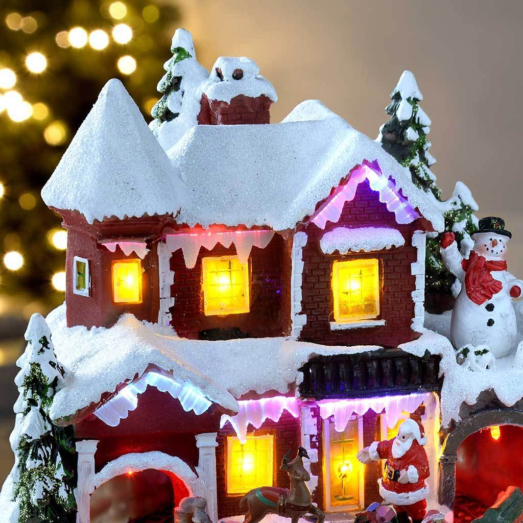 21 cm Swinging Scene House with Rotating Train/ Colourful LED Lights Decoration
