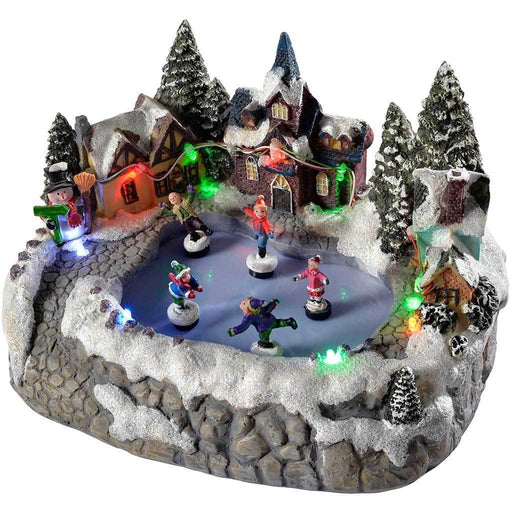 23 cm Christmas Scene with 5 Children Skating and Colourful LED Lights Decoration