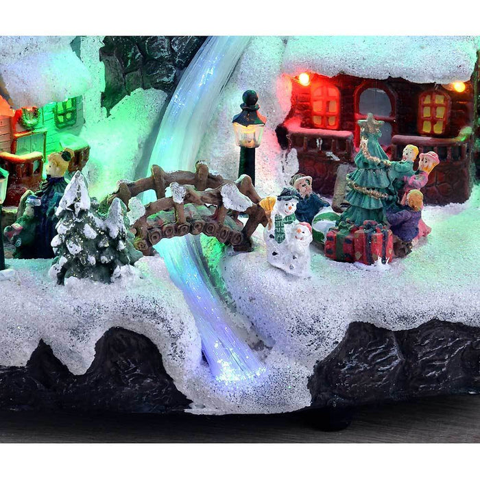 25 cm Christmas Village Scene with Fibre Optic Water Fall and Colourful Lights Decoration