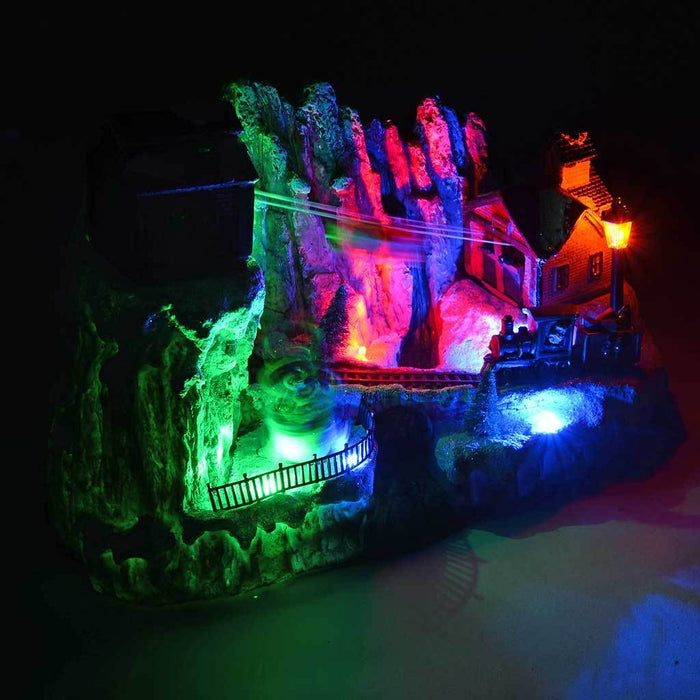 29 cm Scene Cable Car with Colourful LED Lights Christmas Decoration
