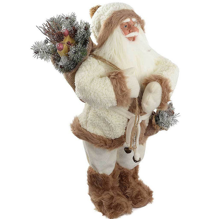60 cm Standing Santa with Gift Sack in a Fur Outfit Decoration, White/ Brown