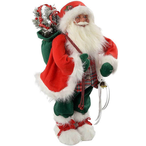60 cm Large Standing Santa Christmas Decoration Dressed in Tartan, Red/Green