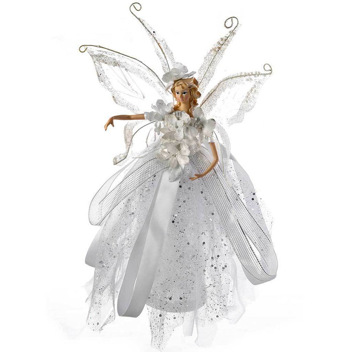Fairy Christmas Tree Topper with Ceramic Head and Hands, 28 cm - Silver