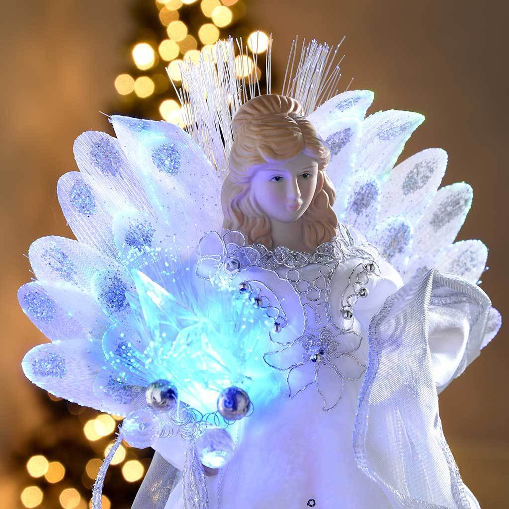 30 cm Fibre Optic Christmas Tree Topper Angel, White/ Silver