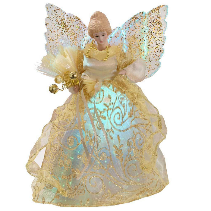 25 cm Fibre Optic Christmas Tree Topper Angel, Gold