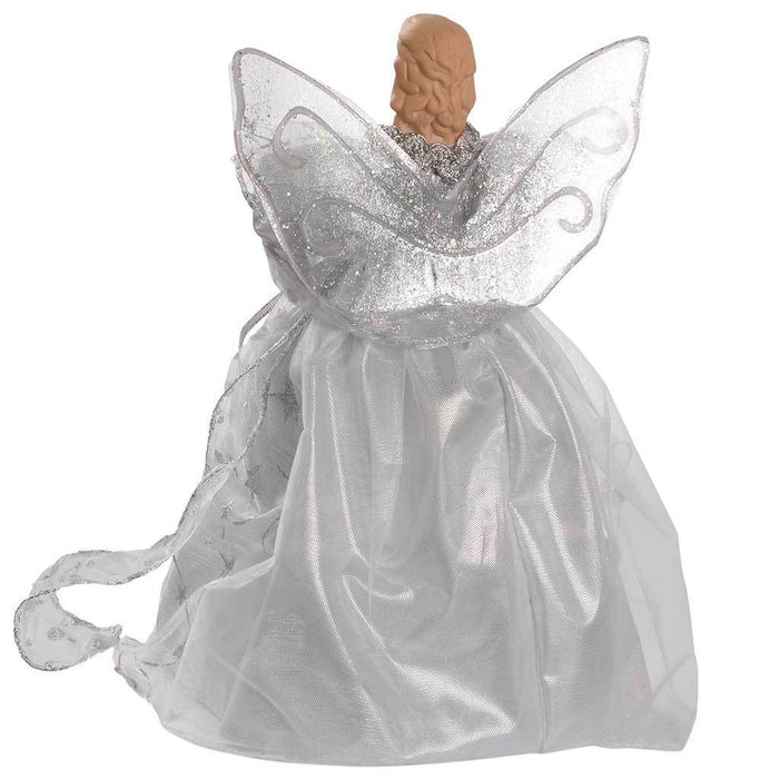 25 cm Angel Decoration Christmas Tree Top Topper with Feather Wings, Silver