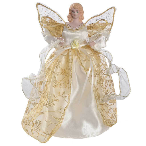 25 cm Angel Decoration Christmas Tree Top Topper with Feather Wings, Gold