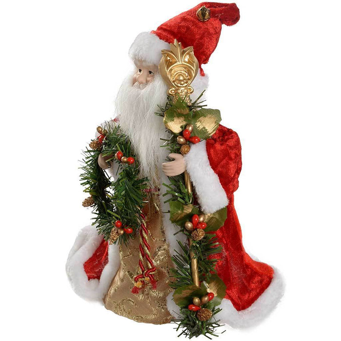 30 cm Santa Decoration Christmas Tree Top Topper, Red/ Gold