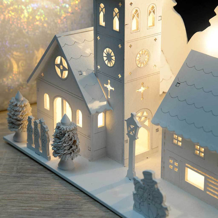 Pre-Lit Wooden Church Village Scene Illuminated with 12 Warm White LED Lights, 24 cm, White