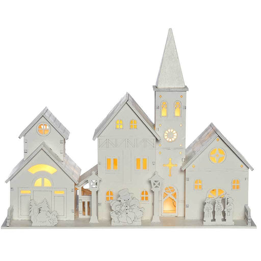 20 cm Pre-Lit Wooden Church Scene Illuminated with 4 Warm LED Lights - White