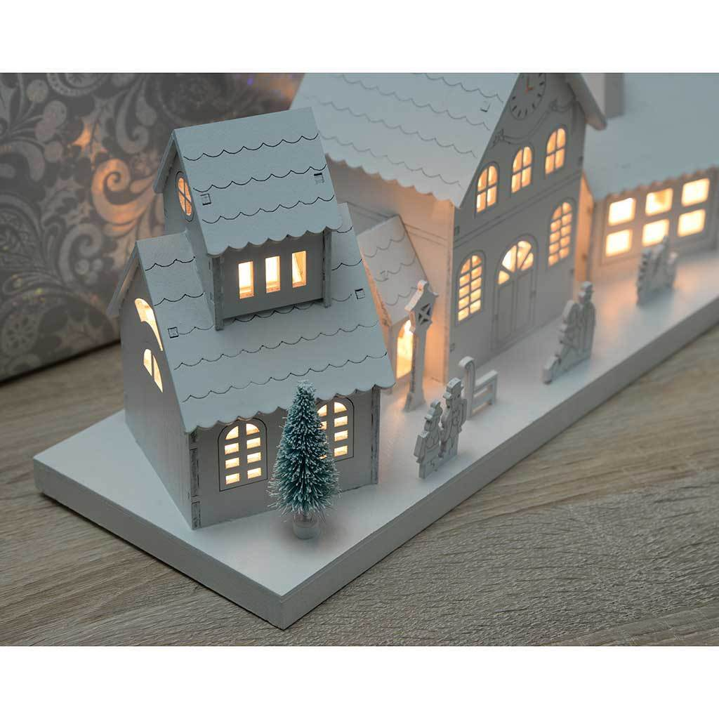 Large Pre-Lit Wooden Village Scene Illuminated with 10 Warm White LED Lights, White