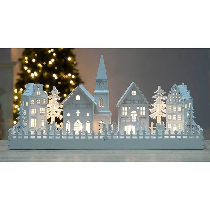 45 cm Pre-Lit Wooden Scene with Church Christmas Decoration Illuminated with Warm White LED Lights, White