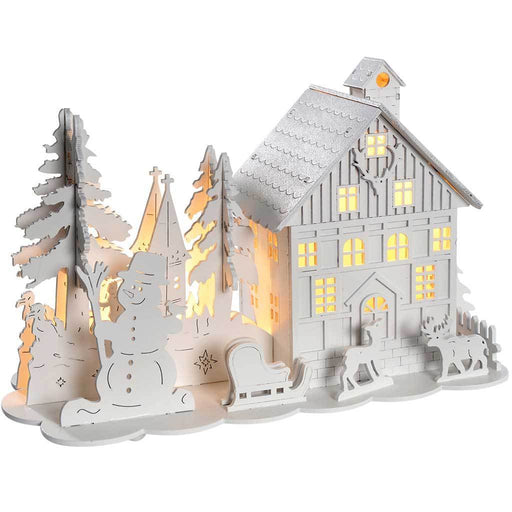 Pre-Lit Wooden House Snow Reindeer Scene with Trees Warm White LED Lights, White