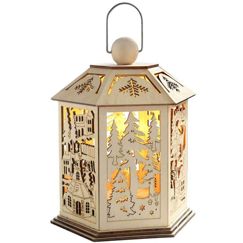 20 cm Pre-Lit Wooden Lantern Christmas Decoration with Warm LED Lights, White