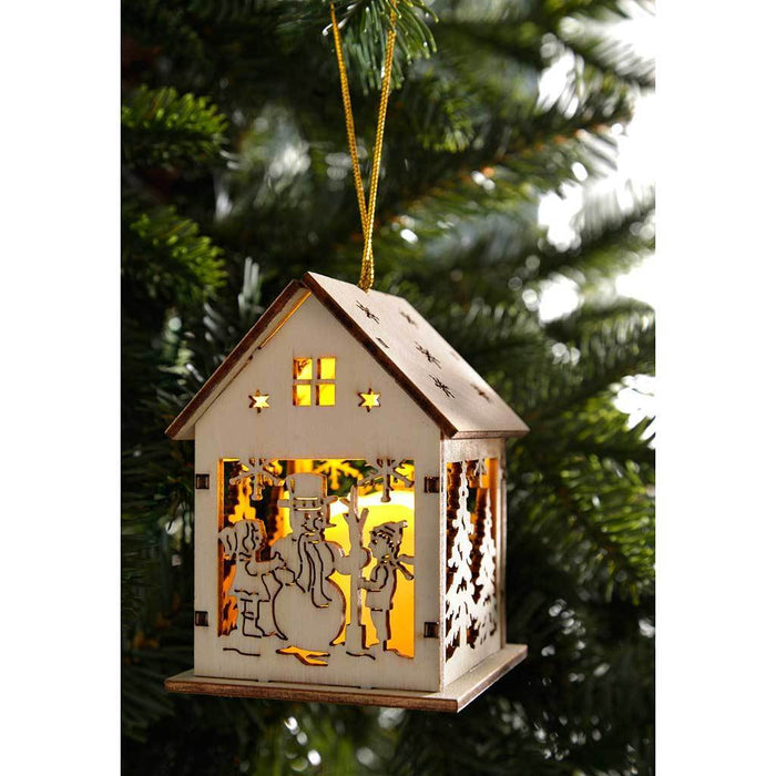 10 cm Pre-Lit Hanging Houses Bauble Christmas Tree Decoration, Set of 3