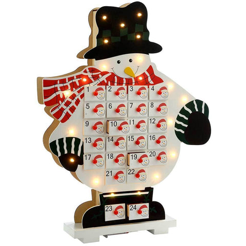 50 cm Pre-Lit Wooden Snowman Advent Calendar, Warm White LED Lights, White
